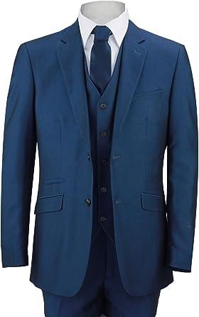 Mens Royal Blue 3 Piece Suit Work Wedding Prom Party Blazer Waistcoat Trousers