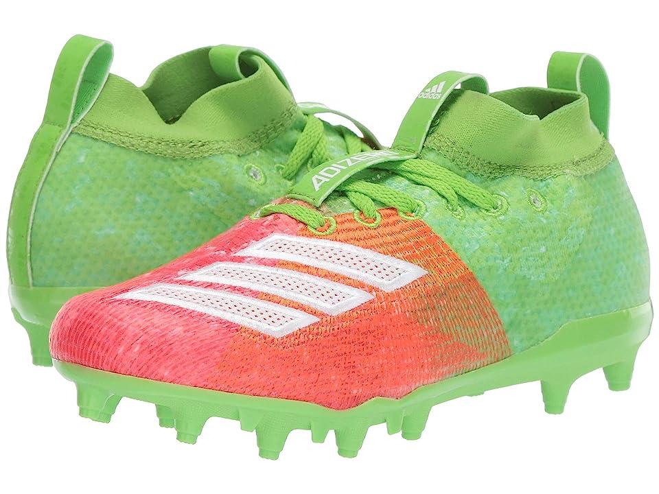 adidas Kids Adizero Burner Snowcone Football (Little Kid/Big Kid) (Solar Green/White/Shock Red) Kids Shoes