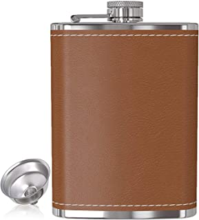 Flask for Liquor and Funnel - 8 Oz Leak Proof 18/8 Stainless Steel Pocket Hip Flask with Brown Leather Cover for Discrete Shot Drinking of Alcohol, Whiskey, Rum and Vodka | Gift for Men