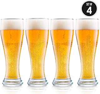 USA Made Nucleated Pilsner Glasses- Etched Beer Glass for Better Head Retention, Aroma and Flavor - 16 oz Craft Beer Glass...