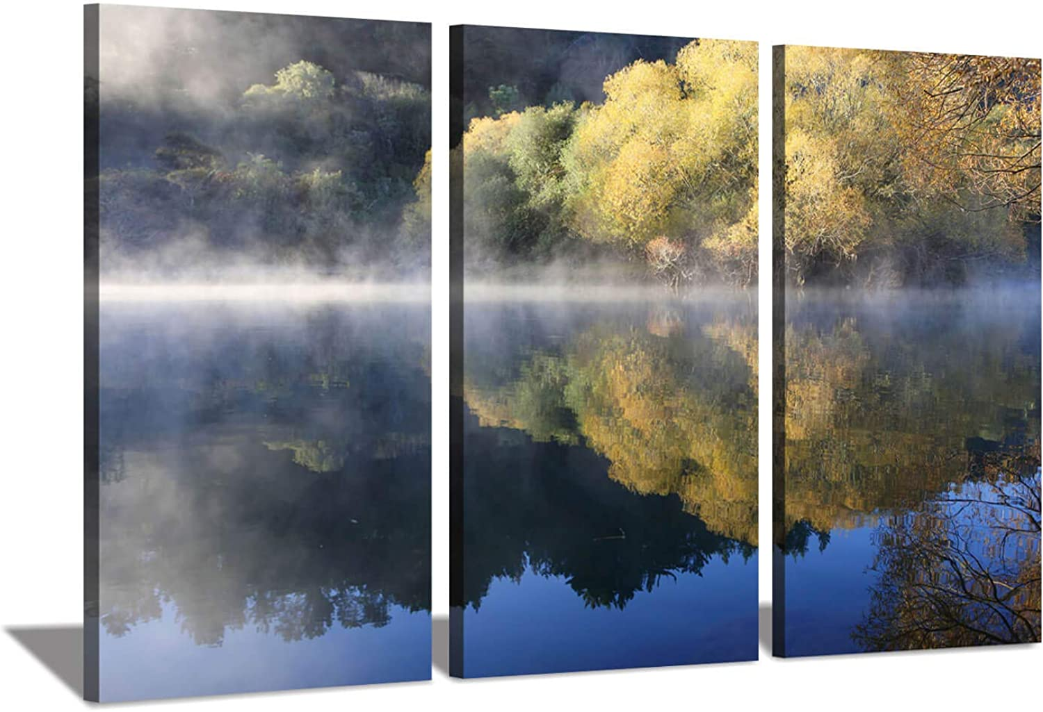 Lake Landscape Canvas Pictures Paintings  Forest Trees Reflection Artwork Print on Wrapped Canvas Wall Art for Living Room (34'' x 20'' x 3 Panels)