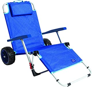 MacSports Beach Day Foldable Chaise Lounge Chair with Integrated Wagon Pull Cart Combination and Heavy Wheels - Perfect for Beach, Backyard, Pool or Picnic