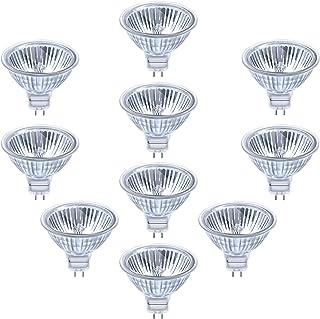 Eande 10× 50W Ampoules MR16 Halogènes Dimmables GU5.3 Halogène Réflecteur 12V Blanc Chaud 2800K Lampe MR 16 Projecteur 500...