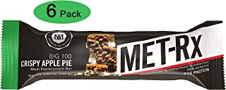 MET-Rx Big 100 Protein Bars, Healthy Meal Replacement, Snack, and Help Support Energy, Gluten Free, Crispy Apple Pie, 100 g, 6 Count