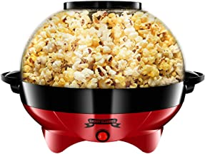 Gadgy Popcornmachine Rond - Groot l 800W | Popcorn Maker met antiaanbaklaag en afneembare bakplaat l Snel en stil l Inhoud...