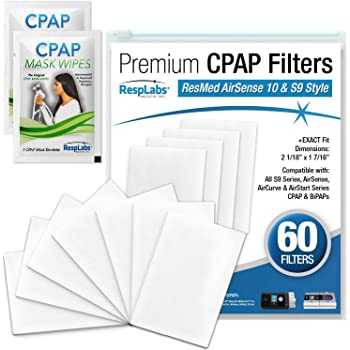 RespLabs CPAP Filters, Compatible with ResMed AirSense 10 & S9 Machines, 60 Pack