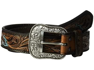 Ariat Pierced Feather Embossed Belt (Tan) Men