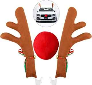 WAPIKE Reindeer Antler & Nose Car Decoration Kit - Christmas Reindeer Antler Car Costume Auto Accessories for Car Windows and Front Grille