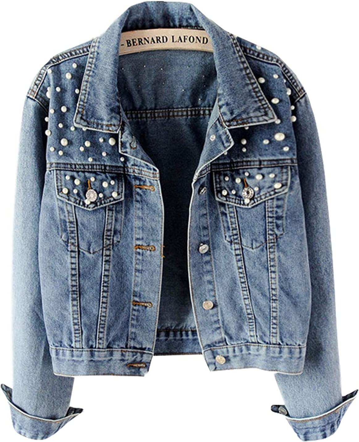 Yimoon Women's Rivet Pearl Short Denim Jacket Long Sleeve Blue Jean Jacket
