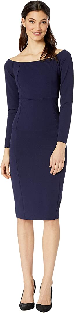 Back Zip Boat Neck Midi Dress