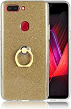 For OPPO R15 Pro Scintillating Powder Shockproof TPU Protective Case With Ring Holder Mobile phone case (Color : Gold)
