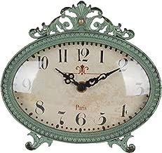 NIKKY HOME Shabby Chic Pewter Table Clock (Aqua)