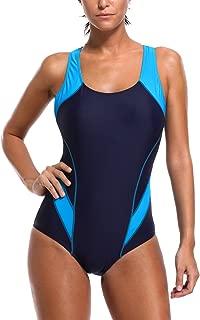 Women's Pro One Piece Athletic Bathing Suit Color Block Swimsuit