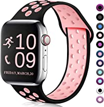 Zekapu Compatible with Watch Band 40mm 38mm, for Women Men, S/M, Breathable Silicone Sport Replacement Wrist Band Compatible for iWatch Series 5/4/3/2/1,Black-Pink