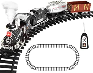 Remote Control Train Set with Smoke, Sound and Light, RC Train Toy Under Christmas Tree, Birthday Gift for 2 3 4 5 + Year ...
