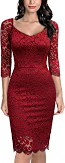 Miusol Women's Deep-V Neck Retro Lace Evening Pencil Dress
