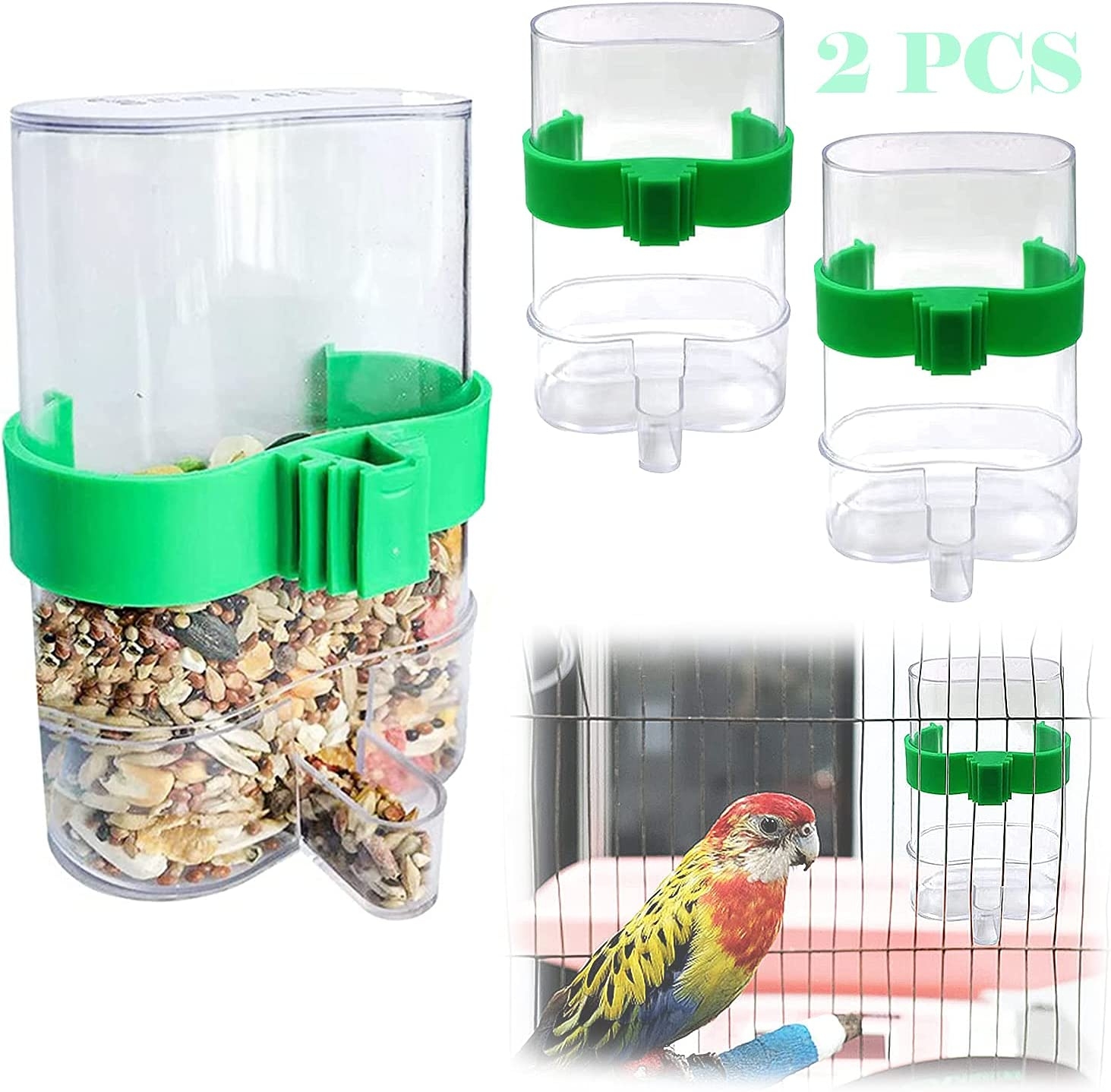2 Pcs Automatic Bird Waterer Food Feeder, Parakeet Food Bird Water Bottle Dispenser for Cage Cover Bird Waterer Bird Parakeet Cage Accessories, Bird Food Bowl Feed Water Dispenser (2 Pcs)