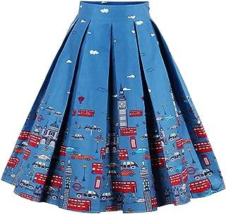 Eudolah Falda a Media Pierna con Falda Plisada Estampado Floral en línea de Cintura Alta Vintage de Mujer
