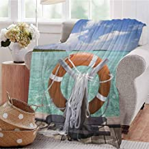 Luoiaax Buoy Comfortable Large Blanket Life Buoy on Jetty Summer Sky Sunshine Exotic Hot Tropical Weather on The Seashore Microfiber Blanket Bed Sofa or Travel W70 x L84 Inch Multicolor