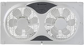 Comfort Zone CZ310R 3-Speed 3-Function Expandable Reversible Twin Window Fan with Remote..