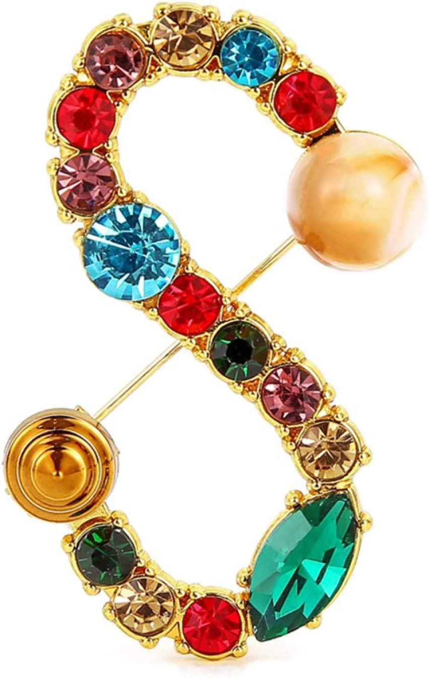 Brooch Pin, Women Multicolor Rhinestone Letter Brooch Pin Corsage Cardigan Jewelry Accessory - Golden K
