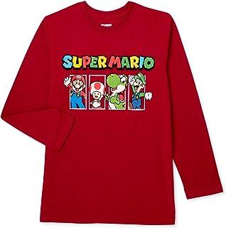 Nintendo Boys Super Mario Kart Long Sleeve Graphic Tee Shirt Top (5/6, Maroon)