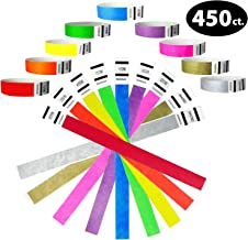 """Tyvek Wristbands- Goldistock Super Variety Pack 450 Ct. - ¾"""" Arm Bands- Green, Blue, Red, Orange, Yellow, Pink, Purple, Gold & Silver- Paper-like Party Armbands - 9 Most Popular Wrist Bands for Events"""