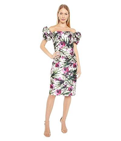 Badgley Mischka Twist Sleeve Cocktail Dress (Light Ivory/Raspberry) Women
