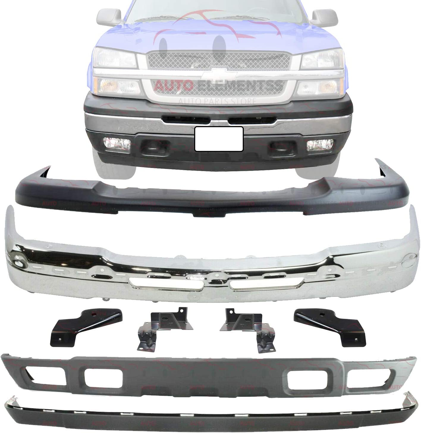 Buy New Front Bumper Chrome Steel Upper Cover Lower Valance Extension Textured Brackets For 2003 2007 Chevy Silverado 1500 2002 06 Avalanche Direct Replacement 19150310 10397999 15139805 C013703 Online In Indonesia B08dg5djzj