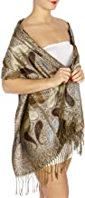 Pashmina Scarfs for Women, Pashminas Wrap Shawls, Soft Wedding Scarf, Paisley Lurex Jacquard Evening Scarves