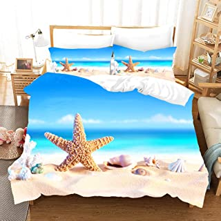 Rose Auroma 3D Sea Beach and Seashell Bedding Set Duvet, Blue Ocean Island Bedding 3 Piece Duvet Cover Sets - Full Size