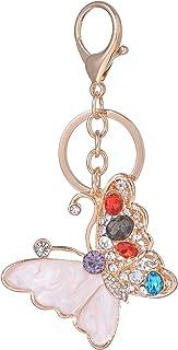 Giftale Butterfly Keychain for Women Cute Bag Charms Crystal Rhinestone Pendant Car Key Ring