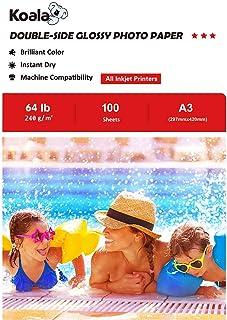 KOALA Papel fotográfico de doble cara brillante para inyección de tinta A3 297x420 mm 100 hojas 240 g/m²