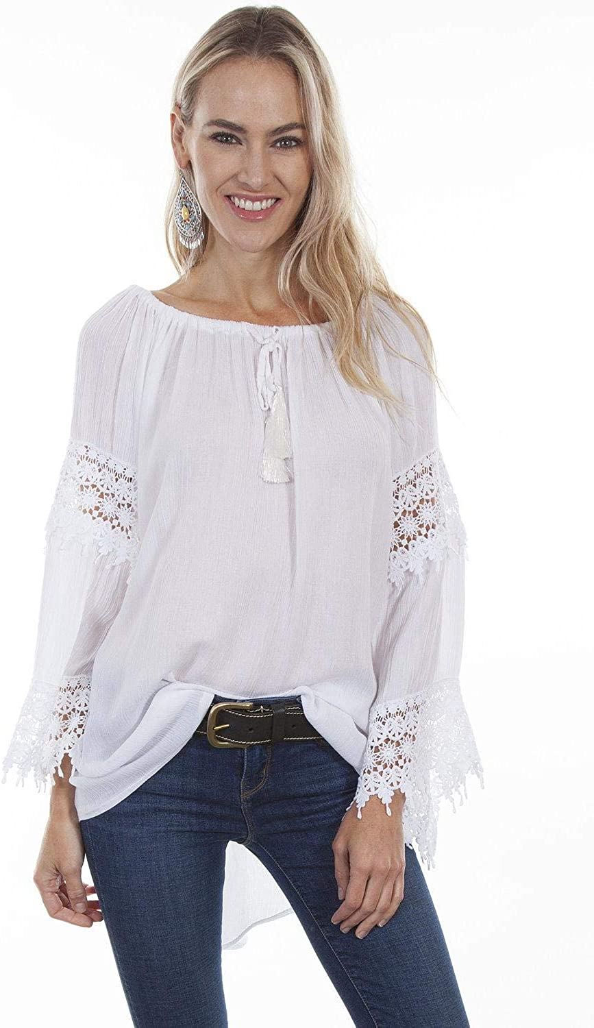 SCULLY Women's Honey Creek by Crochet Lace Long Sleeve Blouse