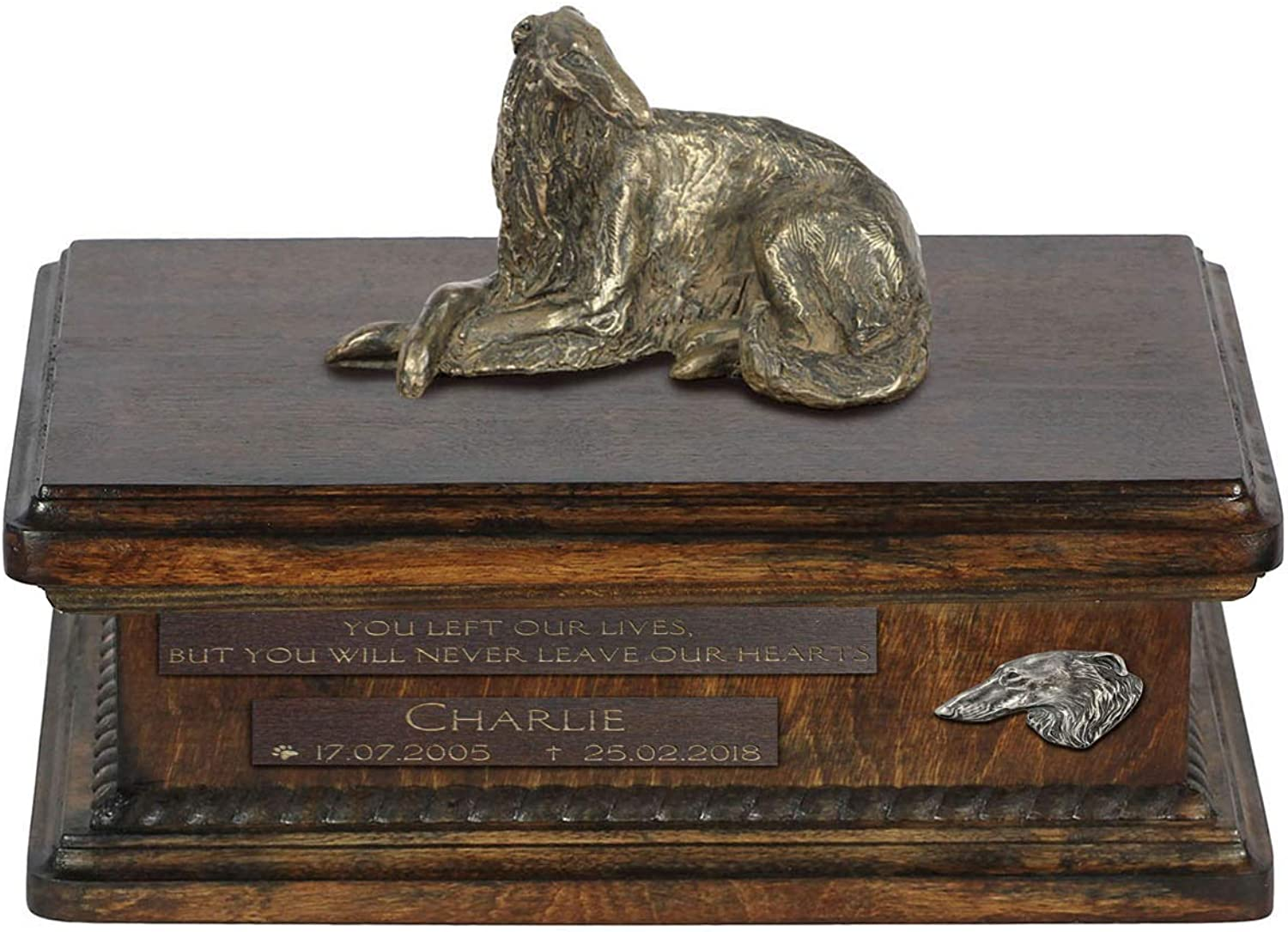 Borzoi lying, Urn for Dog Ashes Memorial with Statue, Pet's Name and Quote  ArtDog Personalized
