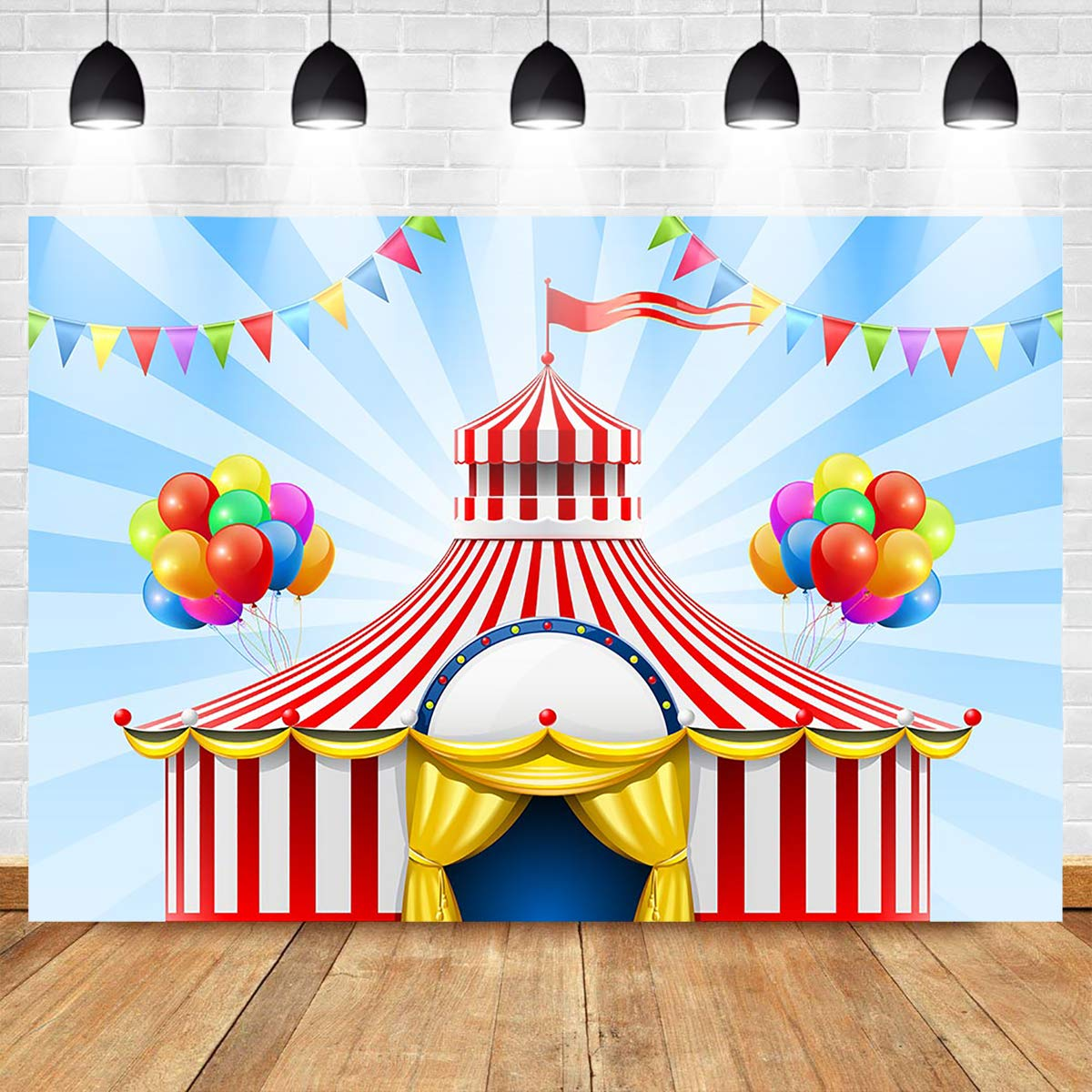 New Yellow and Red Circus Tent Photography Backdrop Birthdays 7x5 Glitter Photo Background Tabletop Backdrops Polyester Glitter Newborn Photo Backgrounds Customized