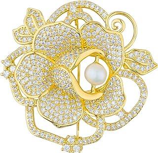 Mecool Broches de flores con perlas brillantes síntesis de circonitas cúbicas para mujer