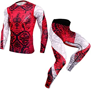 Men's Fitness Sports Quick-Drying Suit Running Training Tights Breathable Compression Gym Clothes Skiing Winter Warm Base ...