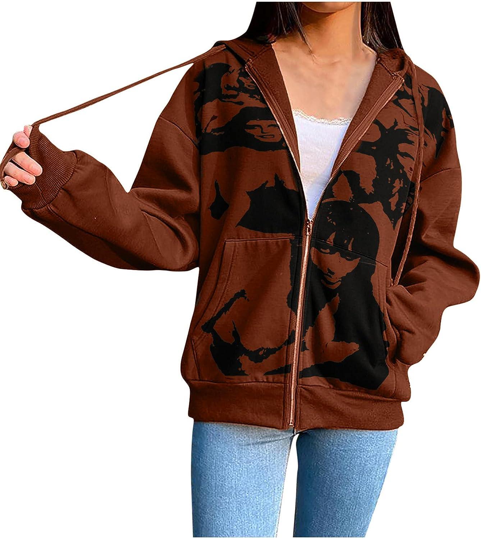 wodceeke Halloween Print Oversized Y2K Zip up Sweatshirt Hoodie Harajuku Aesthetic Jackets Coat Streetwear Tops