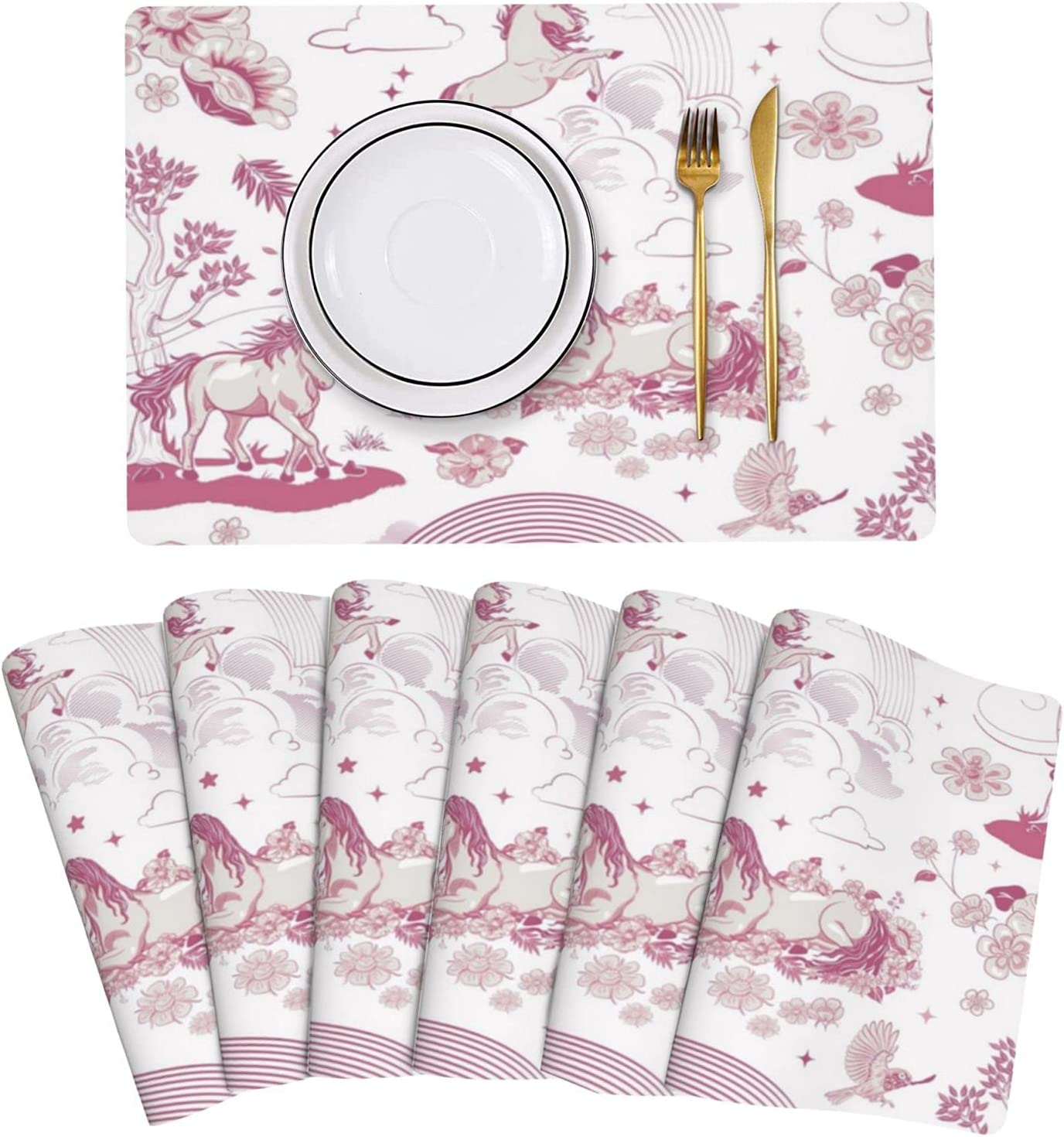 Magical Unicorn Leather Placemats Set of Resistant 6 Non-S Financial sales sale Stain service