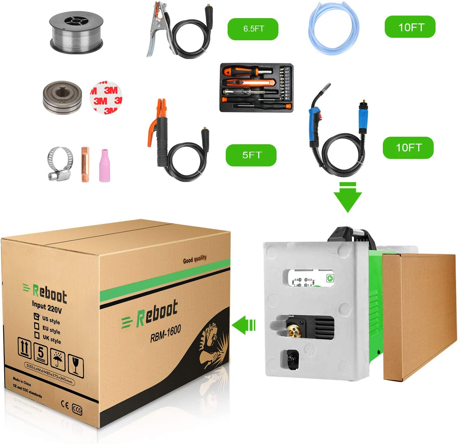 MIG Welder Flux Core IGBT Reboot MIG155D Gas//Gasless Stick Mig TIG 5 in 1 Welding Machine 110//220V 155 Amp Solid Wire Automatic Feed Inverter MMA ARC Welding