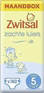 Zwitsal Luier Junior Maat 5 (11-23 kg), met comfortabele en zachte pasvorm - 162 luiers - Maandbox