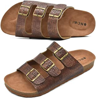 ONCAI Mens Slide Sandal Summer Beach Arizona Indoor and Outdoor Anti-skidding Flat Cork Sandals with Two Adjustable Straps