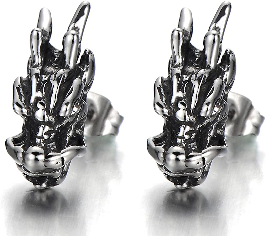 Mens Punk Dragon Head Stud Earrings in Stainless Steel with White Cubic Zirconia, 2 Pcs
