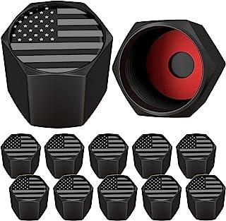 کلاهک های سوپاپ تایر SAMIKIVA تایر پرچم آمریکا ، ایالات متحده با حلقه لاستیک ، روکش های بنیادی جهانی برای اتومبیل ها ، SUV ها ، دوچرخه ، دوچرخه ، کامیون ها ، موتور سیکلت ها ، هواگیر (سنگین) (12 بسته) (خاکستری سیاه آمریکا (12 بسته))