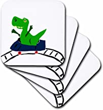 3dRose Funny Green T-rex Dinosaur on Roller Coaster - Soft Coasters, Set of 4 (CST_196248_1)