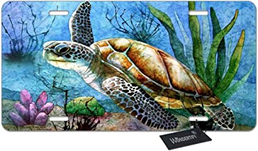 Amcove License Plate Watercolor Sea Turtle Decorative Car Front License Plate,Vanity Tag,Metal Car Plate,Aluminum Novelty License Plate,6 X 12 Inch 4 Holes