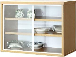 サンニード ミニ食器棚 IS-6045 幅60cm 奥行30cm 高さ45cm (ナチュラル/ホワイト)