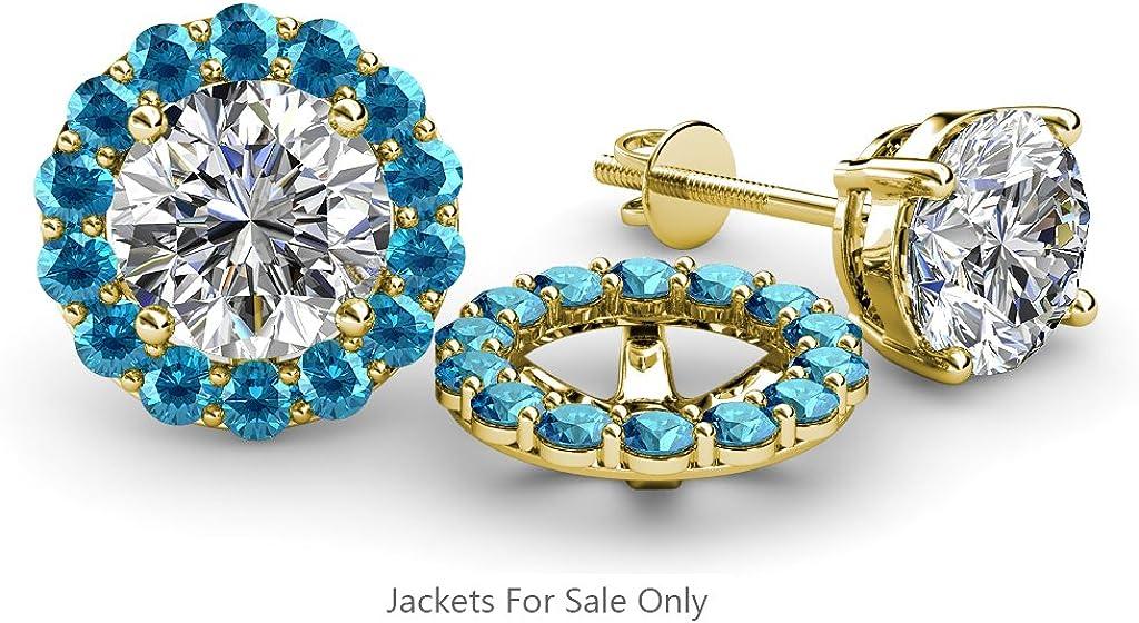 TriJewels London Blue Topaz Halo Jacket for Stud Earrings 0.98 cttw in 14K Yellow Gold