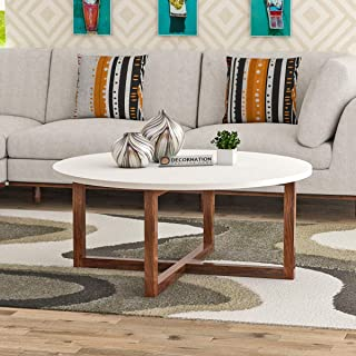 DecorNation Alicea Wooden MDF Modern Round Coffee Table with Solid Wood Legs - White